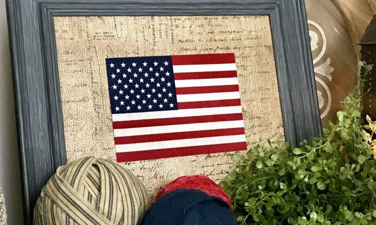 Framed Flag Patriotic Home Decor July 4th USA Patriotic DIY Framed Flag Home Decor Fourth of July USA