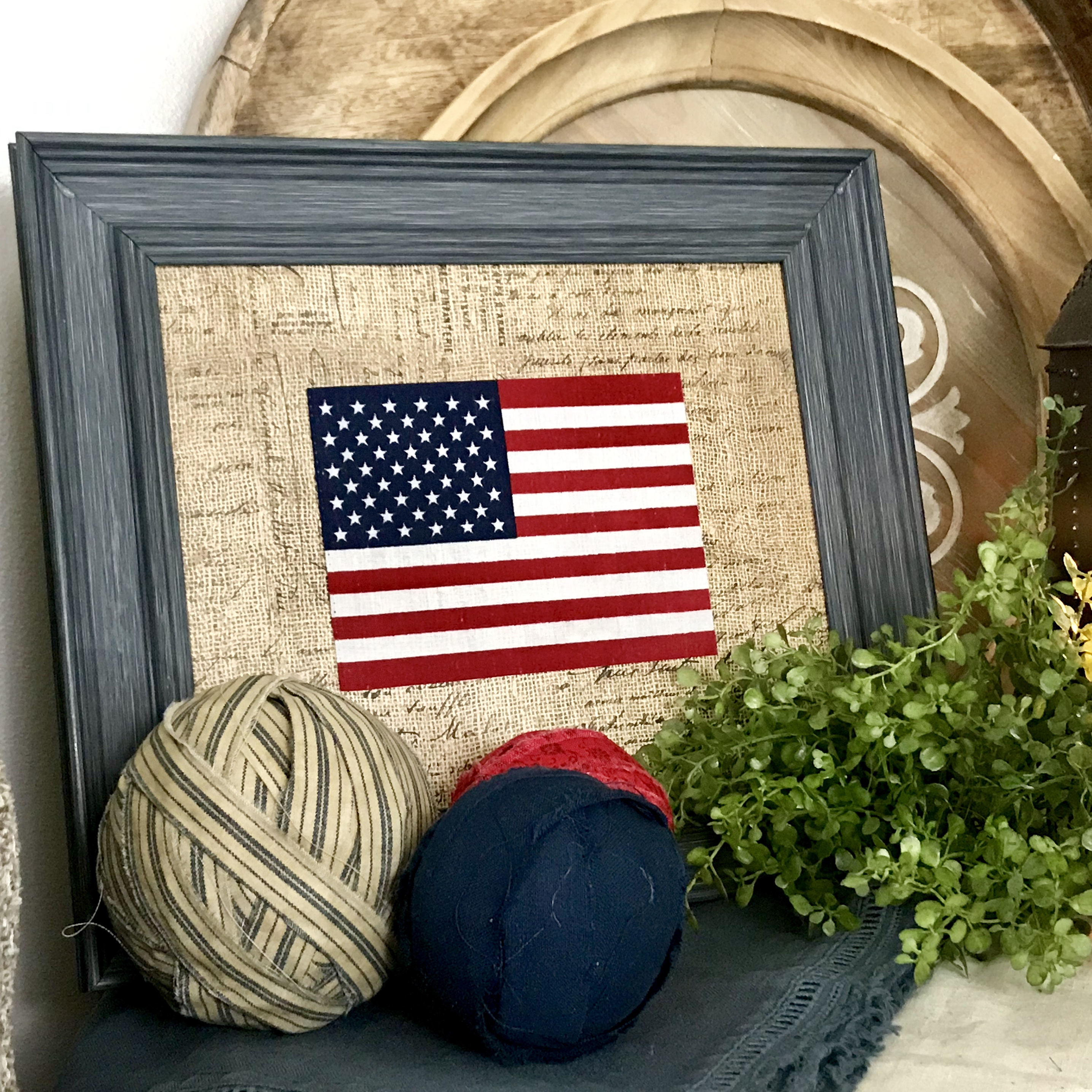 Framed Flag Patriotic Home Decor July 4th USA Patriotic DIY Framed Flag Home Decor Fourth of July USA