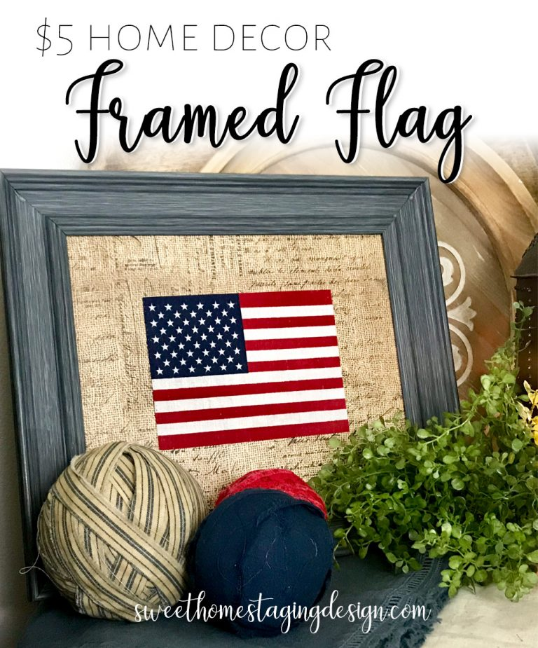 Framed Flag Patriotic Home Decor July 4th USA