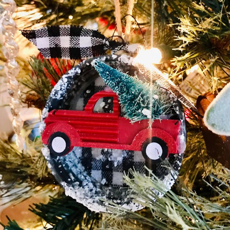 JAR LID DIY vintage Christmas ornament holiday craft little red truck