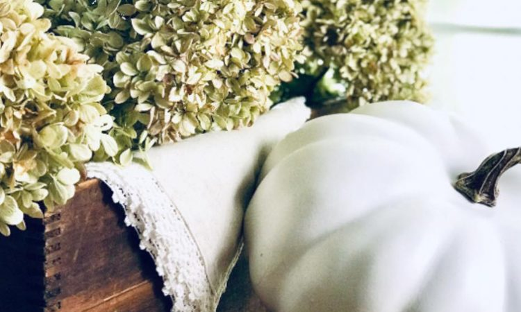 dried hydrangea blooms diy dry fall vignette home decor farmhouse