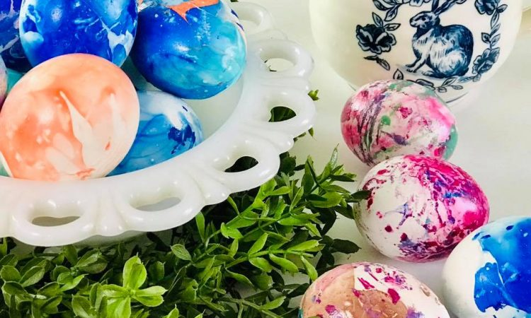 Marbled DIY Nail Polish Easter Eggs Spring Craft