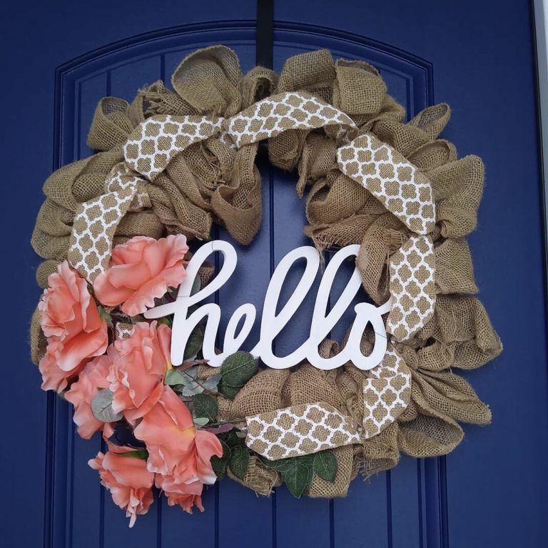 Spring Decor Easter Crafts Burlap Spring Easter Mesh Door WREATH hanger DIY