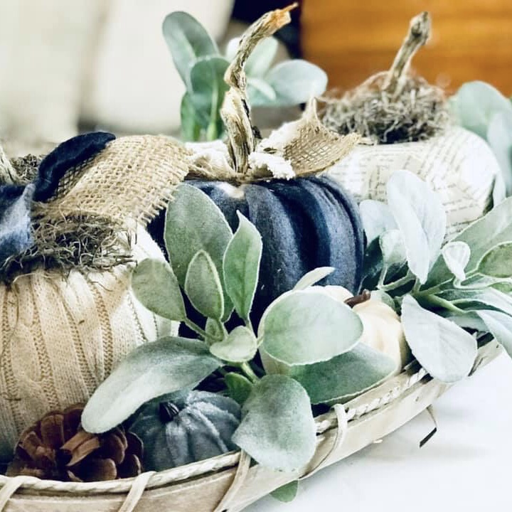 Quick Easy Neutral Fall Tobacco Basket Centerpiece