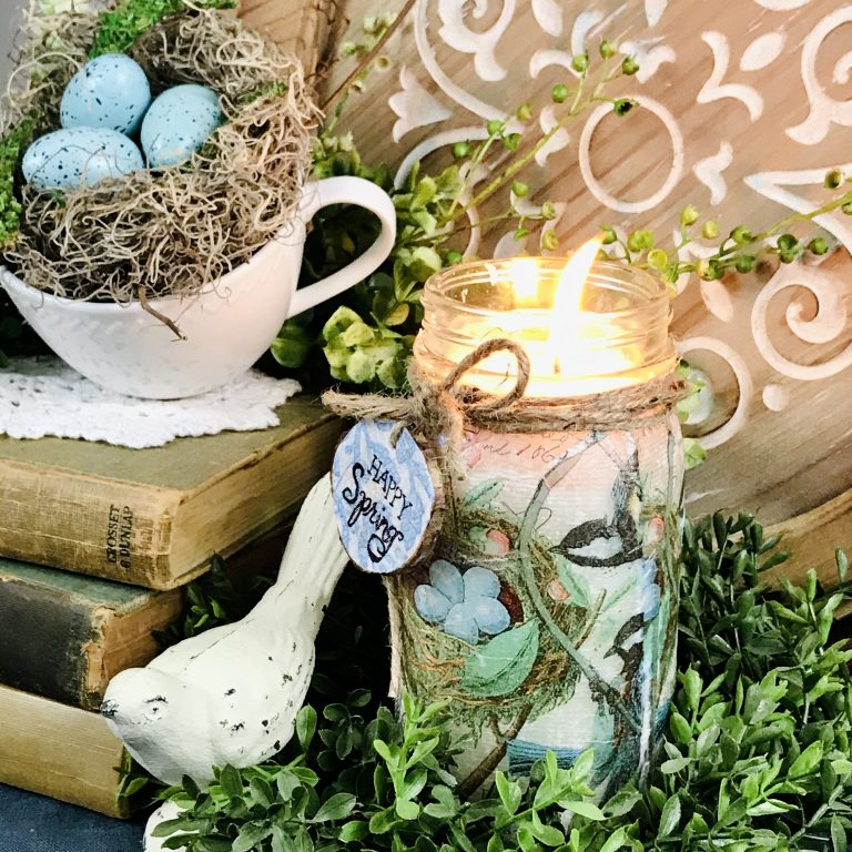 spring DIY Candle Mod Podge Decoupauge Napkin Bird Nest Decor Home Farmhouse Makeover