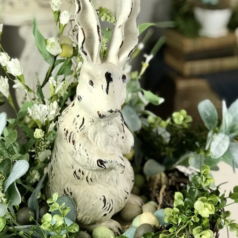 Spring Easter DIY Table Centerpiece bunny rabbit home decor