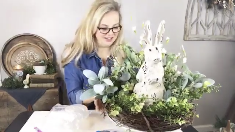 Spring Easter Bunny table centerpiece home decor diy craft crafting hobby lobby