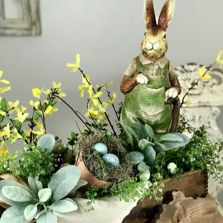 Vintage Box Spring Vignette rustic Spring vignette Easter Bunny table centerpiece home decor diy craft crafting hobby lobby