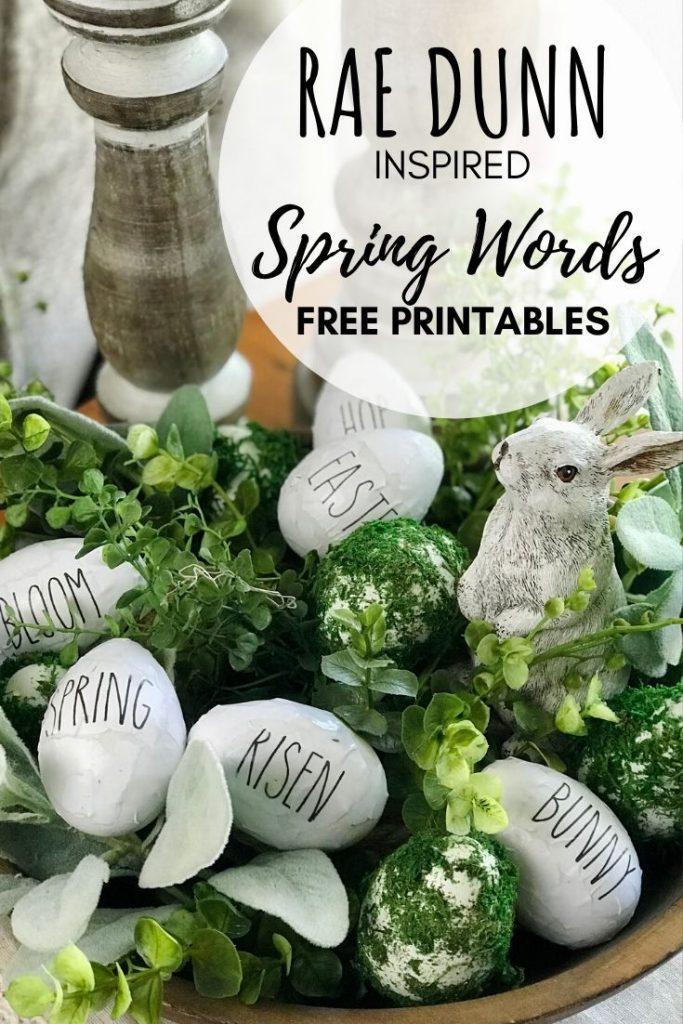 Rae Dunn Printables Spring Easter Egg words