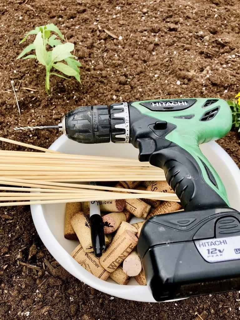 Supplies for DIY Wine Cork Garden Markers